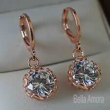 18K 18ct Rose Gold Plated Dangle Drop Earrings with Round SWA Crystal -UK 214
