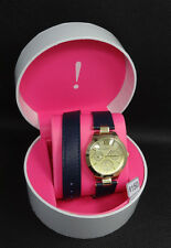 Isaac Mizrahi Live IMTH2014 Double Wrap Leather Band Day/Date Women's Watch $150