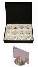 12x DIAMOND Wedding Place Card Stand Table Name Number Holder Restaurant Glass