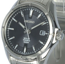 New Mens SEIKO SOLAR TITANIUM Black Sheen Dial With Date SNE141P1