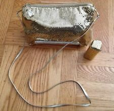 Whiting & Davis Gold Metallic Mesh  Purse Crossbody Evening Bag Lipstick Case