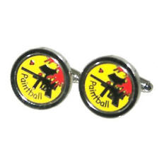 Yellow, Black & Red Paintball Cufflinks With Gift Pouch Paintballing Present