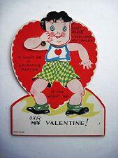 Cute Vintage Antique Mechanical Valentine w/ Boy Holding Mask   *