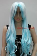 Lady's light blue white mixed long curly Cosplay party Wigs+ free wig cap