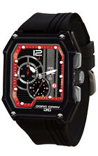 Jorg Gray JG7100-23 Mens Watch Black With Red Dial Chronograph Rectangular Case