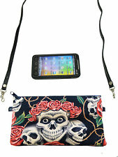 CELL PHONE CASE CROSS OVERBODY BAG SKULLS PINK ROSES  PATTERN SHOULDER BAG PURSE