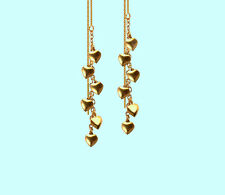 *CKstella*  Dancing Heart GP Linear 14K Gold Vermeil Thread Threader Earrings