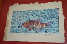 Psychedelic Fish Smoking PipeEL SUB By ALVAREZ Signed Framed VTG 90s ART PRINT