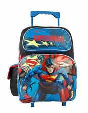 "NWT Brand New Superman Man of Steel  16"" Large Rolling Boys Backpacks Bag - Blue"