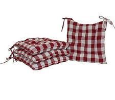 """SET OF 4 16"""" RED CHECK PLAID Soft Plush Kitchen Dining CHAIR PADS CUSHIONS NEW"""