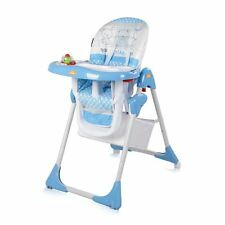 Baby Folding Feeding High Chair Seat PVC Adjustable Backrest Safety Belts BLUE