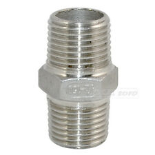 "1/2"" Male x 1/2""  Male Hex Nipple Stainless Steel 304 Threaded Pipe Fitting NPT"