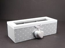 Schabby Chic Grey & White Wooden Trinket /Tea Storage Box With 3 Compartments #2