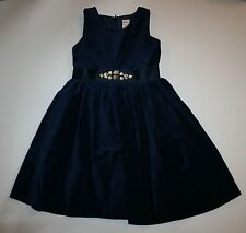 New Gymboree Navy Sleeveless Velveteen Gem Dress Size 7 Year Holiday Shine Line