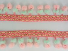Double Peach Pink Mint Green Mini Pompom Ball Fringe Trim Lace Braid Sewing Tape