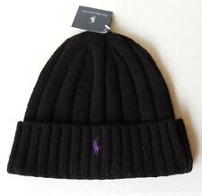 POLO Ralph Lauren Black with Purple Logo beanie wool hat with cuff