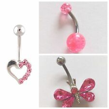 set 3 or choose Belly bar bars navel ring body piercing various surgical steel