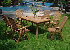 Marley Grade-A Teak 7pc Dining 71 Rectangle Table 6 Reclining Folding Arm Chairs