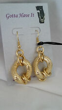 1AR by UnoAerre - 18KT Gold Plate Wide Textured Large Hoop Drop Earrings - Italy