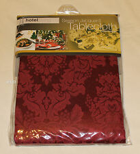 Hotel Living Maroon Season Jacquard Tablecloth 4-6 Seat Oblong 152cm X 213cm New