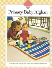 PRIMARY Colors BABY AFGHAN Bright Colorful Crochet Single Pattern Vanna White