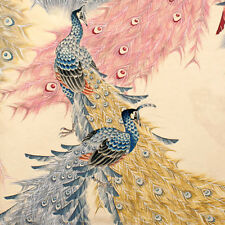 1m Kujaku (peacock) Metallc Tea Fabric - Alexander Henry. oriental retro beautif