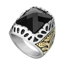 Men's Stainless Steel Fashion Gold Plated Black Agate Stone Finger Ring Size 12