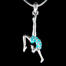 w Swarovski Crystal Teal Blue ~Gymnastic Gymnast Acrobat Contortion Necklace New