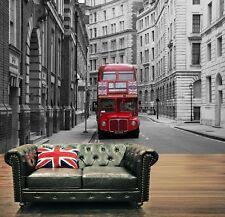 Rojo London City Bus Foto Wallpaper Mural 335x236cm black&white!