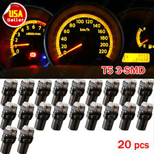 20X Amber Yellow T5 Wedge 3-SMD Dashboard Gauge Instrument Side LED Light 17 18