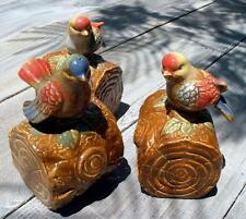 Vintage Song Birds on Logs Ceramic Mid-Century Retro Figurine Cabin Chic