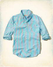 NWT Hollister by Abercrombie & Fitch Poplin Button Down Shirt L Turquoise Checks