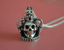 925 Sterling Silver 3D King Crown Skull Skeleton Gothic Cross Charm Necklace