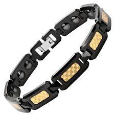 Magnetic Black & Gold Foil Carbon Fibre Bio Energy Hematite Bracelet