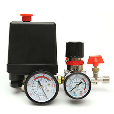 125PSI Air Compressor Pressure Valve Switch Control Manifold Regulator Gauges