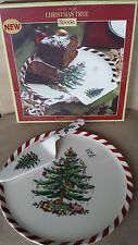 SPODE CHRISTMAS PEPPERMINT CAKE PLATE and SERVER