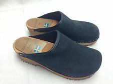 Olof Daughters Sweden Handcrafted Clogs By Ulla Navy Suede US 1.5 EU 33 NEW 8.5""