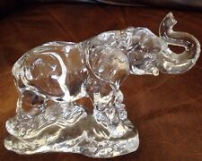 "BEAUTIFUL VINTAGE ROCK CRYSTAL TRUNK UP ELEPHANT FIGURINE 6"" HIGH Rare"