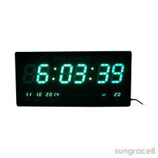 Big beautiful Green LED digital Wall Clock with Date Temperature Alarm Watch