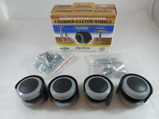 "Slipstick CB681 Rubber Castor Wheels 2"" Diameter Wheels, Black/Gray, Pack of 4"