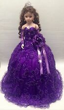 NEW Purple 28 inch Mis 15 XV Anos Quinceanera Porcelain Umbrella Muñeca Doll