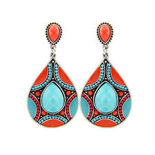 Turquoise And Coral Silver Tone Tear Drop Chandelier Drop Earring