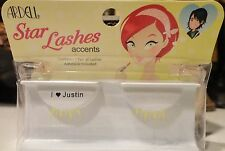 "ARDELL Star Lashes Accents 1 Pair of YELLOW EYELASHES ""I Love Justin"" Cute!"