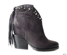 new $335 ASH 'Loco' black STAR-Studded hidden wedge ankle boots 6 - HOT