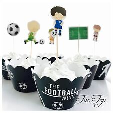 12x Soccer Football Team Topper + Wrapper. Sport FIFA Party Supplies Lolly Bag