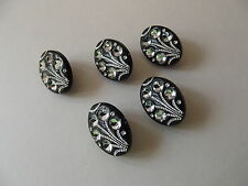 5 x BLACK DIAMANTE EFFECT OVAL BUTTONS ~ size 34L (Approx 20mm x 15mm) FASHION
