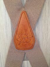 Hippie Suspenders XL Bird On Leather Tan Vintage