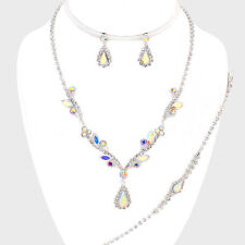 AB diamante necklace bracelet earring set bridal prom party aurora borealis 0525