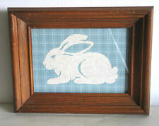 "SCHERENSCHNITTE Paper Cutting Rabbit Plaid Bkgd Wood Frame 9.5x7.5"" FREE SH"