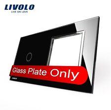 Glas Abdeckung für 1 Gang Touch Lichtschalter + Steckdose Schwarz Kristall  Glas